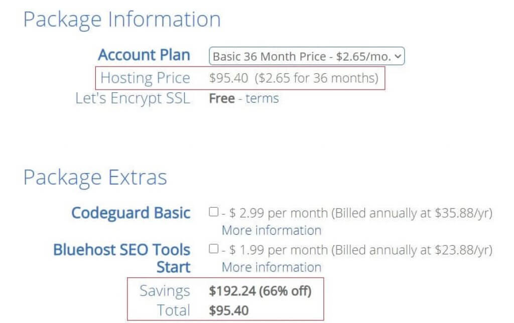 Bluehost Coupon Applied