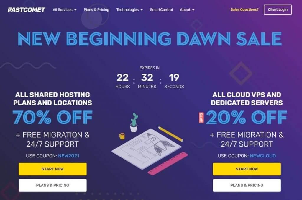 Fastcomet.com Hompage