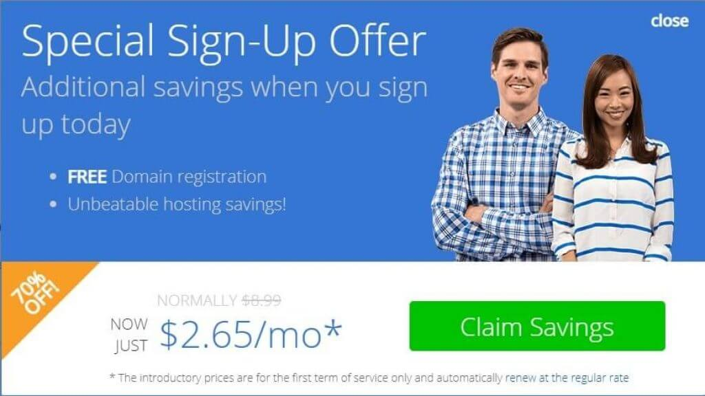 Bluehost $2.65 Deal Coupon