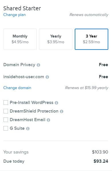 Dreamhost Shared Starter Plan Total Price For 3 Years